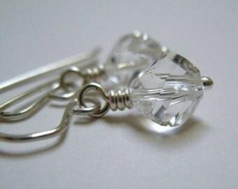 Crystal Earrings Sterling Silver Jewelry Wire Wrapped Clear Swarovski Handmade Under 20
