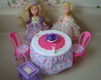 Reserved for Christine.Princess Magic Touch Tea Table and two Princess Magic dolls with original box, 1987