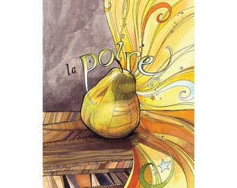 Pear Art: La Poire French country kitchen art, archival print of original illustration