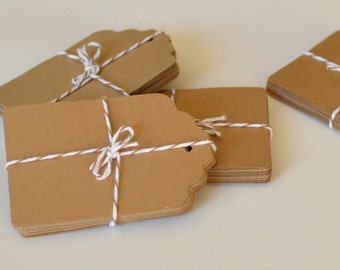 Large Kraft Paper Tags, 100 Count, Die Cut Tag, Paper Crafting, Gift Tags, Scrapbook Supply