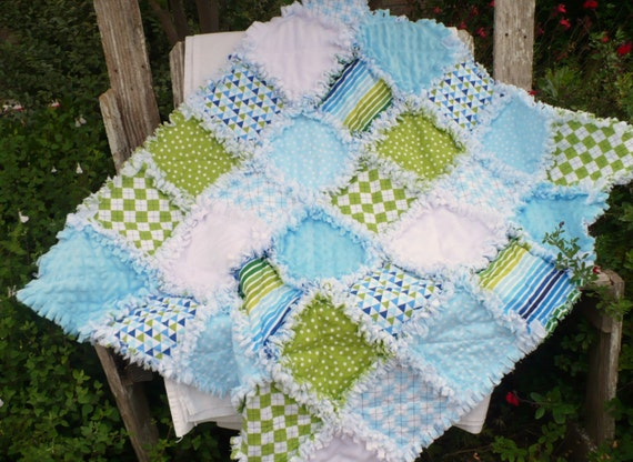 Fresh Modern Baby Boy Rag Quilt Blue And Green Retro Dots