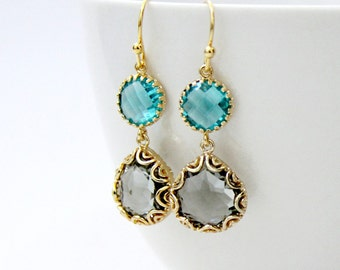 Colorblock Earrings. Blue Gray Gold. Faceted Glass Stones