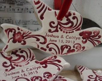 Twenty Personalized Wedding Favors, Wedding Decorations, Wedding Ornaments - Ceramic Doves
