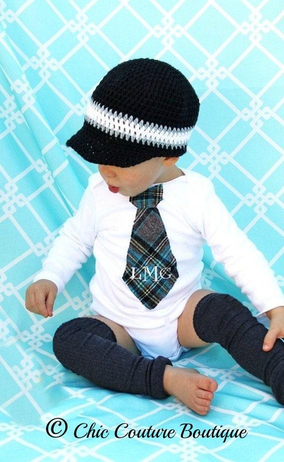 Easter Spring Baby Boy Personalized Tie Onesie / Bodysuit. 1st Birthday Cake Smash, English Plaid Gray Black, White, Aqua, St Patrick's