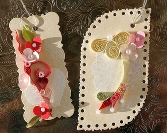Quilled Valentine Gift Tags Duo  Red and Creams on Parchment Background