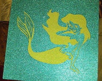 The Little Mermaid Ariel Disney Princess Teal and Green Glitter Poster