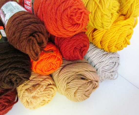 12 Skeins Yarn Destash Knitting Worsted Weight 3 Ply by BPvintage