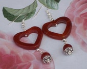 Carnelian Heart Shaped Earrings, Gemstone Earrings, Brown/Orange Earrings, Handmade Jewelry