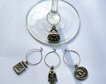 Vintage charm Wine charms / kitchen gift / upcycled art