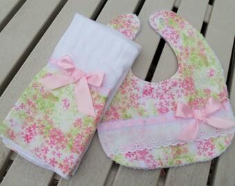 Burp Cloth & Bib Set, Classic Pink Floral, Baby Girl Burp Cloth Set, Baby Shower, Baby Gift, Newborn, Girl Set, Infant, Girls Bib Set,