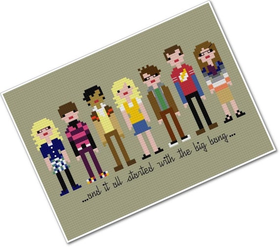 Pixel People - The Big Bang Theory - PDF Cross Stitch Pattern - INSTANT DOWNLOAD