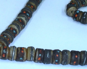 Vintage Tibetan Hand Made Bone, Coral and Turquoise Prayer Mala Necklace