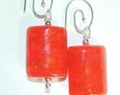 JBB Wet Slicker Dichroic Earrings Pendant Set Neon Orange Yellow Dichroic Earrings Pendant