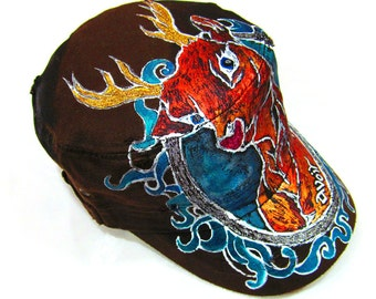 Reindeer Antler Tattoo Style Military Handpainted Hat One of a Kind