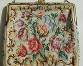 Vintage Floral Tapestry Purse with Chain Handle