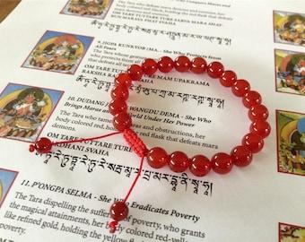 Carnelian Wrist Mala/ Bracelet for Meditation GMS-159