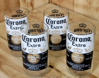 Four Pack Upcycled Corona 8 ounce juice glasses made from beer bottles
