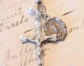 Pewter Crucifix, Vintage Mary Medal, and Pearl Drop Pendant Necklace