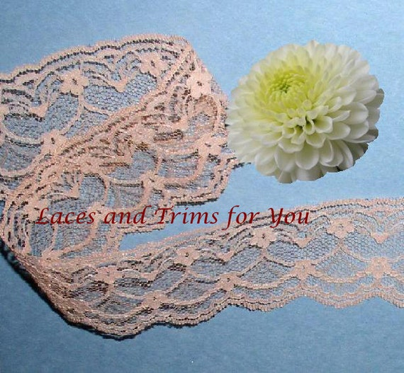 Peach Lace Trim 10 Yards Floral Fan Scalloped 2 inch wide M92C Added Items Ship No Charge