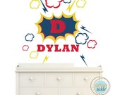 Super Hero Wall Decal, Super Hero Name, Nursery Artwork, Play Room Decor for kids Action Hero Comic book decor