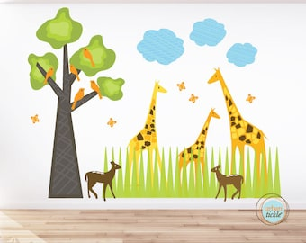 Wall Decal, Modern Safari, Large, Nursery Artwork, Wall Sticker for Baby Room, Play Room Decals, Giraffes, Jungle