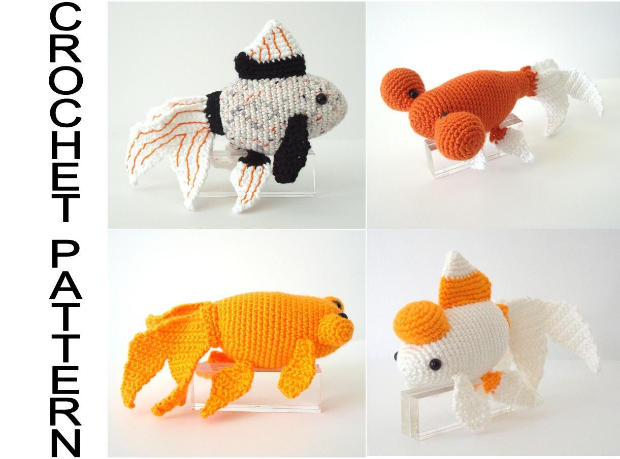 Free Amigurumi Goldfish Pattern : Fancy Goldfish Varieties Crochet Pattern Amigurumi Goldfish