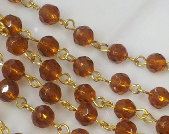 36 Inches 6 mm Amber Color Glass  Faceted Round  Beads  Rosary Chain with Gold  Plated  Metal Loop Links,.