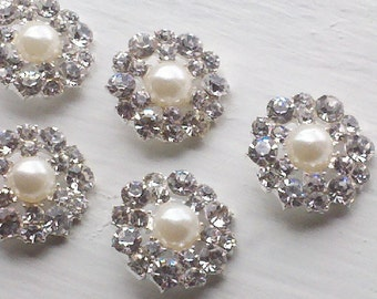 10 Pieces  21 mm  Silver Metal Buttopns With  Rhinestone and Ivory Pearl Bridal Bouquet  Flower Hair Embellishment