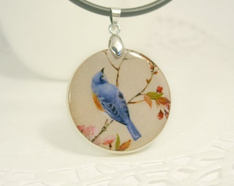 Blue Bird On A Branch  Vintage Print Necklace Polymer Clay
