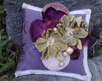 Purple Orkid Shell Ring Pillow