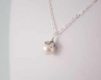 June Birthday Jewelry, Birthstone Necklace, White Genuine Freshwater Pearl, Child Children, Flower Girl, Sterling Silver Chain