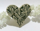 Ceramic Pin /Brooch  - Green Leaf Heart, OOAK Ceramic Jewelry