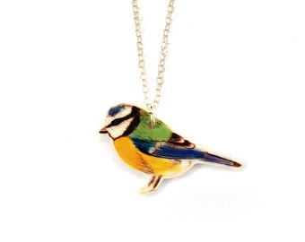 Blue tit necklace ~ illustrated bird necklace