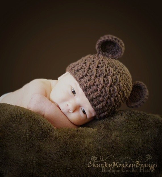 Baby Boy Hat, 6 to 12 Months Baby Boy Hat, Boy Teddy Bear Hat, Handmade Hat, Chocolate Brown with Ears. Great for Photo Props. Baby Gift.