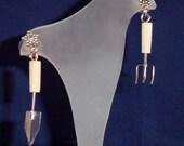 Gardener's Earrings - Spade and Rake Flowers