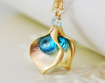 Gemstone Earrings, Genuine Swiss Blue Topaz, Semiprecious Stone, Bright December Birthstone, Gold Calla Lily Jewelry, Free Shipping