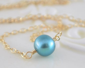 Floating Choker Necklace, Teal Freshwater Pearl, Real Pearl Necklace, Simple Gold Jewelry, Free Shipping