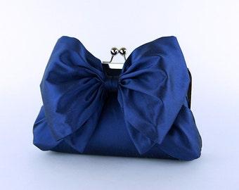 Bridesmaid Clutch, Silk Bow Clutch in Navy, wedding clutch, wedding bag,  luxury bridesmaid gift