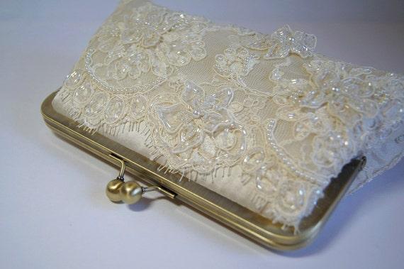 Alencon Beaded and Appliquéd Lace  Silk Clutch,  wedding clutch, Bridal clutch, Purse for wedding