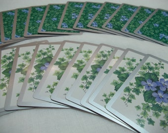 Vintage Twenty Playing Cards Paper Ephemera Violets and Vines Trading Cards