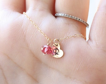 Gold Initial Necklace, Birthstone Necklace, Mother's Necklace, Dainty Heart Necklace, Initial Charm Necklace, Personalized Necklace