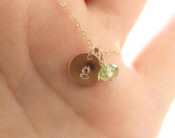 Gold Initial Birthstone Necklace - Swarovski Crystal, Hand Stamped Script Initial Charm - Personalized Monogram - Dainty Birthstone