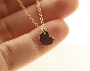 Tiny Heart Necklace, Tiny Heart Charm, Gold Filled Necklace, Sterling Silver Necklace, Dainty Heart Necklace, Layering Necklace