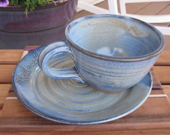 Soup and Sandwich Set Midnight Snacks Rustic Cornflower Blue Handmade Carved Pottery READY TO SHIP