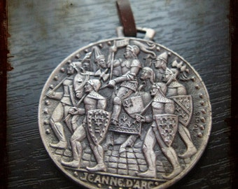 Vintage Large French Silver Saint Joan of Arc Medal - Maid of Orleans Jewelry pendant from France
