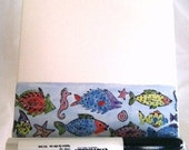 Dry Erase Message Board Fish Ceramic Tile with Wooden Stand and Marker
