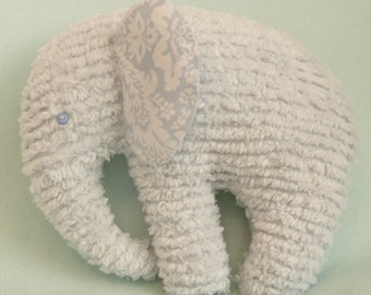 Chenille Elephant, Blue with Blue printed ears