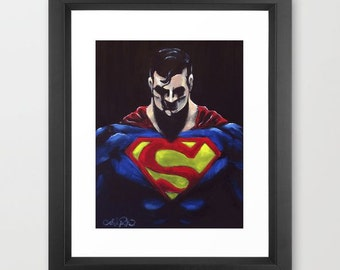 Superman Man of Steel Original Painting Reproduction PRINT - Black - Pop Art - Comic Illustration Style