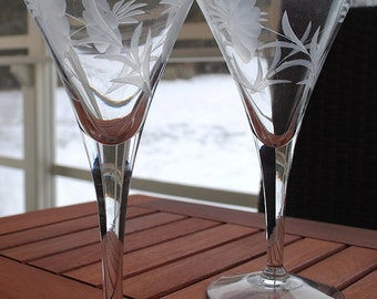 Etched Champagne Flutes set of 9