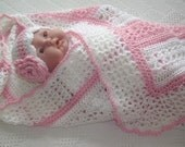 Crochet Baby Blanket Lacy Stripes in Pink and Pearl White Girl